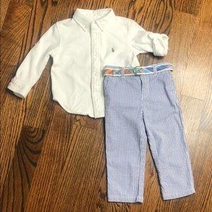 Ralph Lauren Boys Outfit Blue Seersucker 18-24 Mo